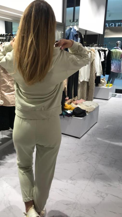 Beżowe spodnie z ozdobnym napisem Jamour S/M