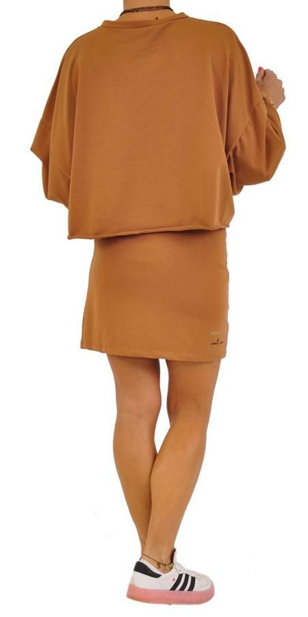 Bluza camel krótka z napisem