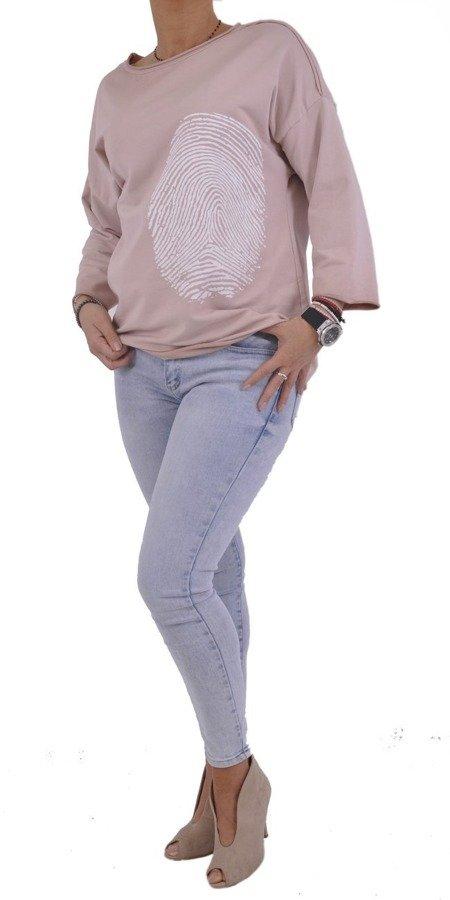 Bluza różowa wzór odcisk palca.