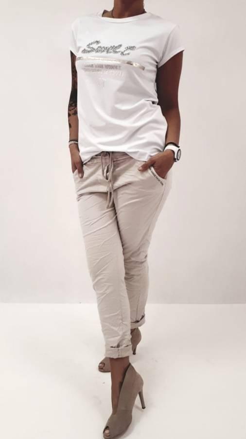 Bluzka biała cekinowy napis