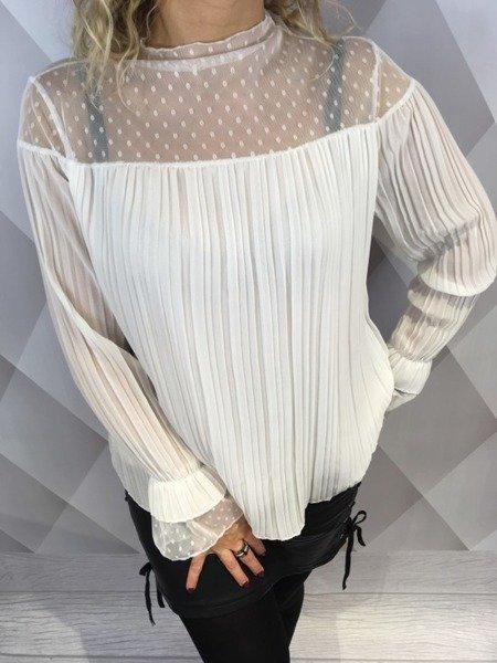 Bluzka biała w pliskę z koronką
