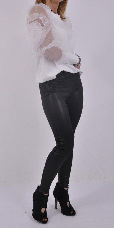 Bluzka biała z tiulowymi rękawami
