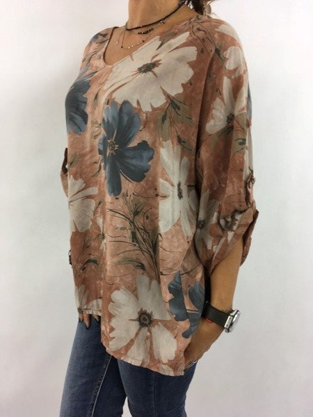 Bluzka kamelowa w kwiaty.