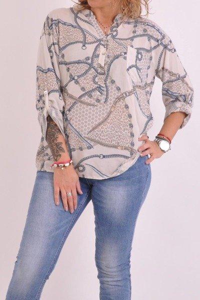 Bluzka koszulowa beż łańcuch