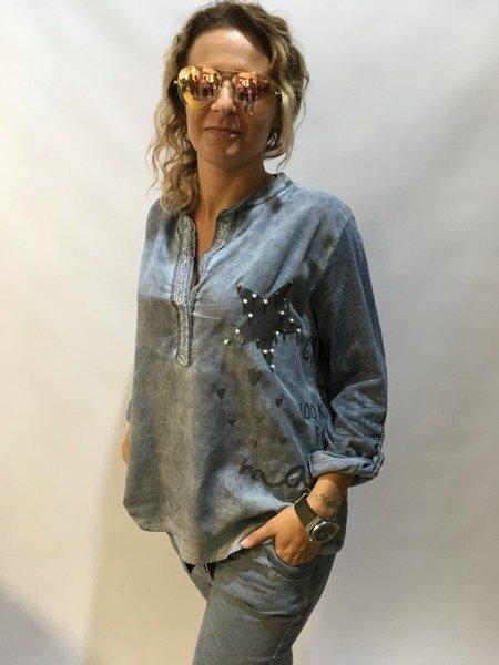 Bluzka niebieska z gwiazdą  perełkami
