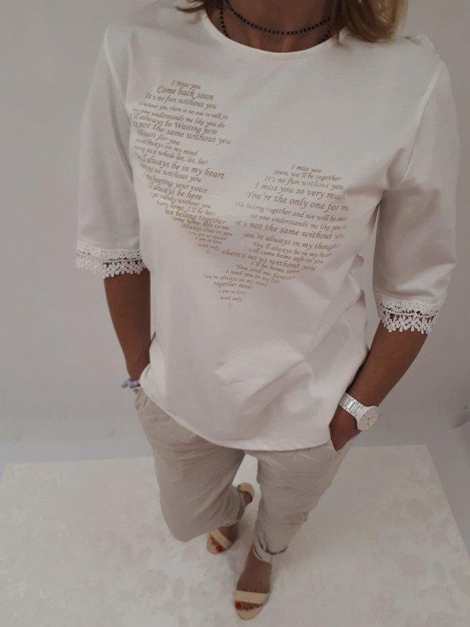 Bluzka w napisy gipiurowy tył