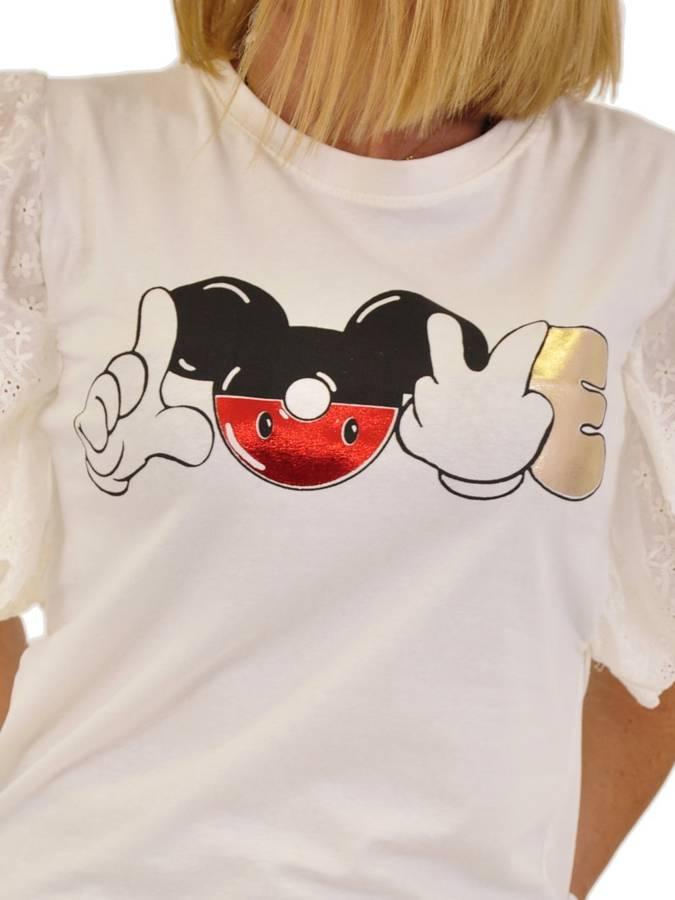 Bluzka wzór Miki falbana