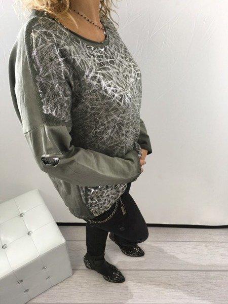Bluzka zielona srebro święta