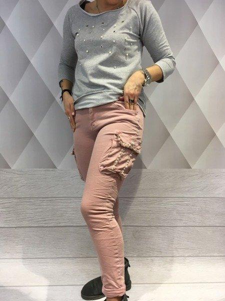 Spodnie bojówki różowe kieszeń perły M.