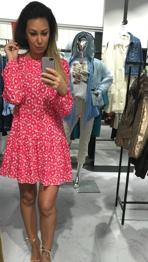 Kobieca sukienka w różowe kwiatki M/L