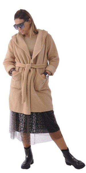 Płaszcz z kapturem camel