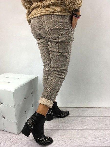 Spodnie beżowe w kratkę