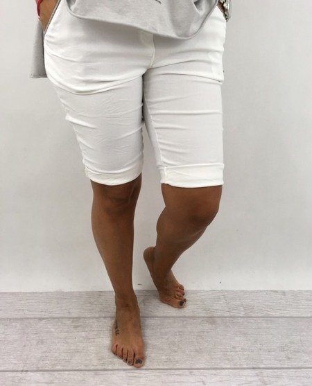 Spodnie białe lamówka