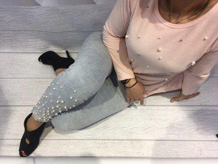Spodnie jeans z perłami S
