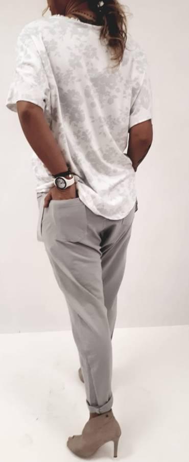 Spodnie szare len obniżony krok