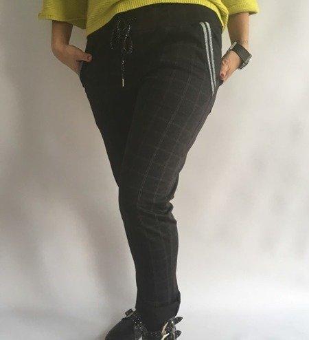 Spodnie w kratę przy kieszeni lamaps szare