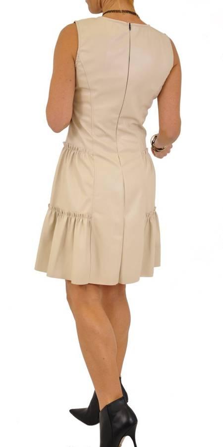 Sukienka beż skóra falbanki S/M