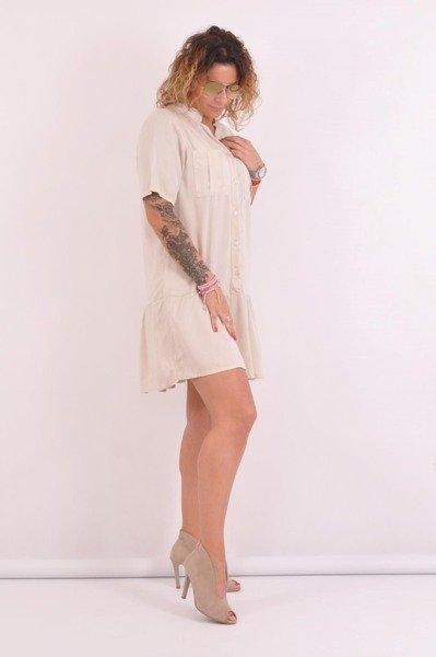 Sukienka beżowa na guziki z falbaną