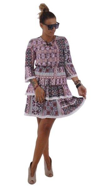 Sukienka brąz łosoś falbany