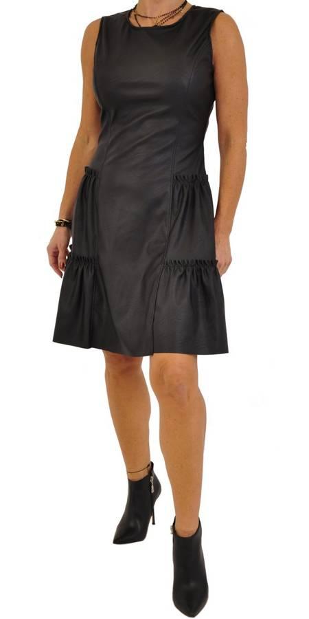 Sukienka czarna skóra falbanki S/M