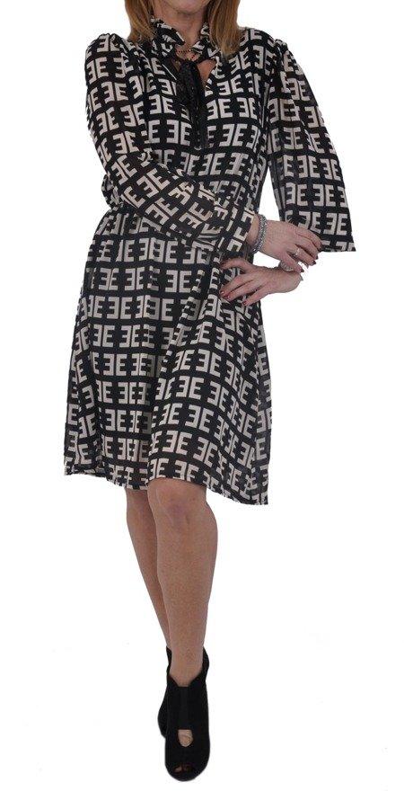 Sukienka czarna w beżowy wzór