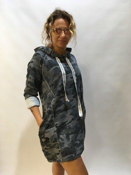 Sukienka moro z kapturem niebieska