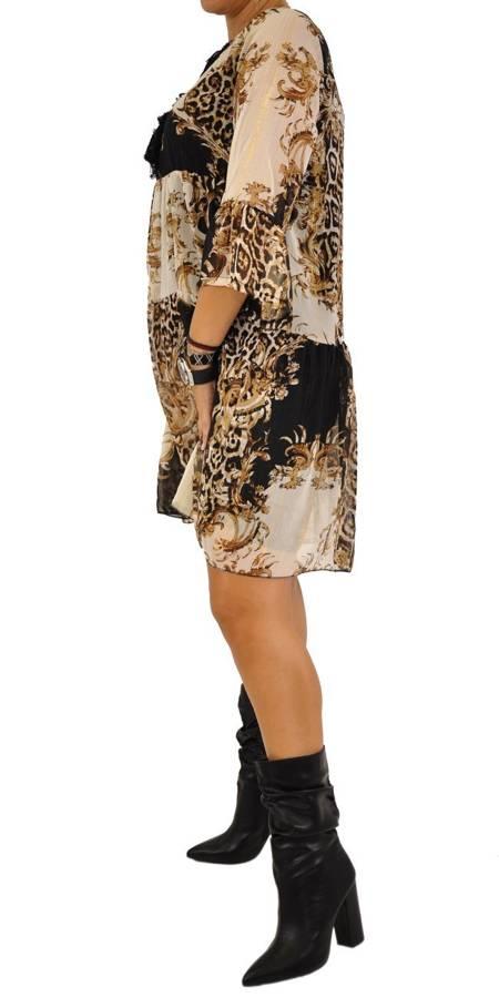 Sukienka pantera wiązana przy dekolcie