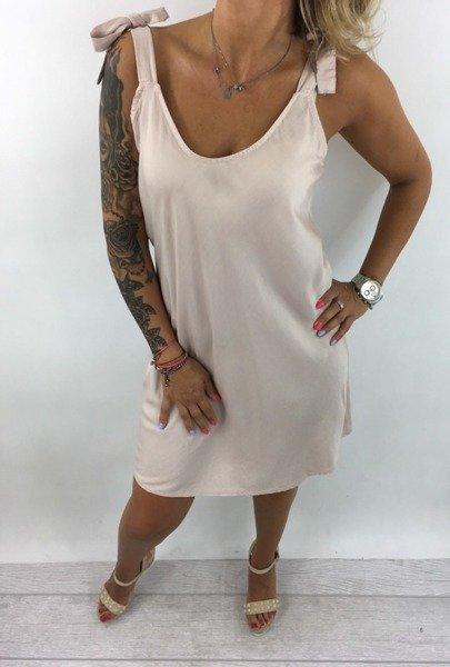 Sukienka różowa wiązana