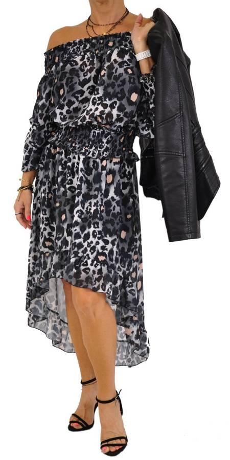 Sukienka szara w panterę asymetryczna