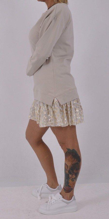 Sukienka, tunika beżowa z tiulowym dołem