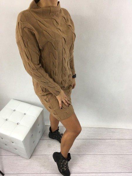 Sukienka warkocz camel