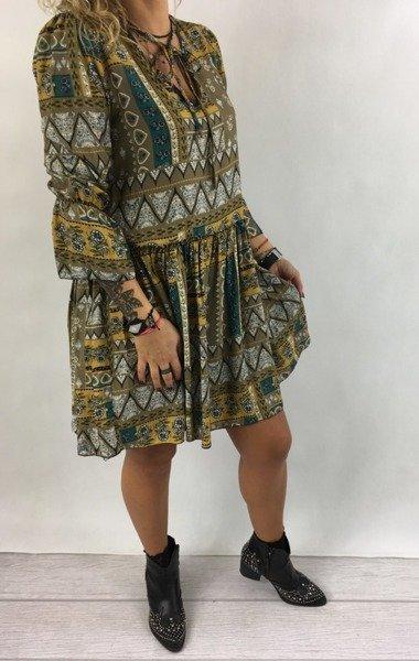 Sukienka we wzór beżowa wiazana