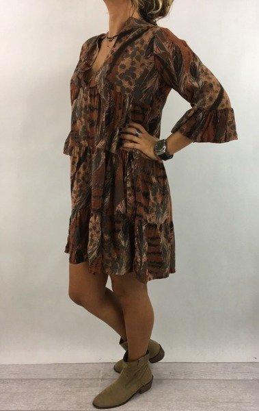 Sukienka wzór zwierzęcy pióra rdzawa