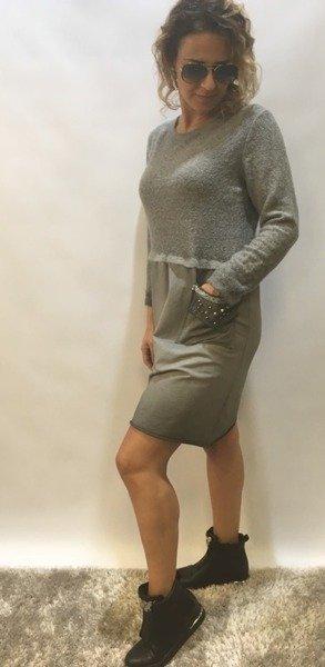 Sukienka z wstawkami moherowymi