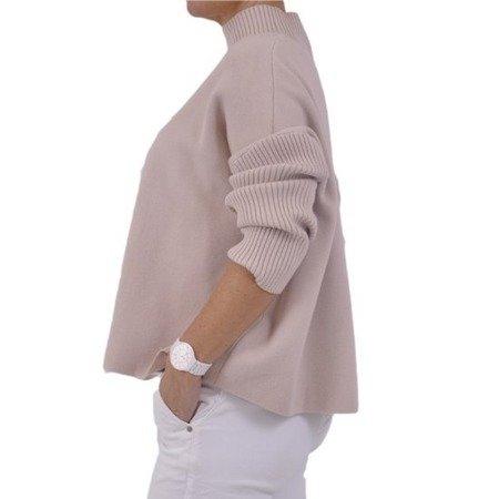 Sweter bezowy golf rękawy w prążek