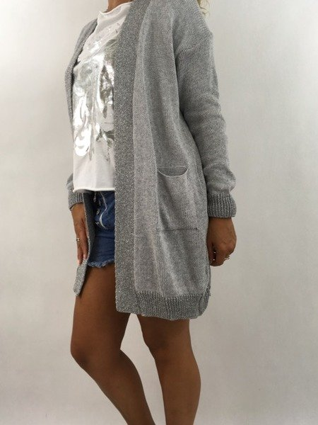 Sweter kardigan szary lamówka