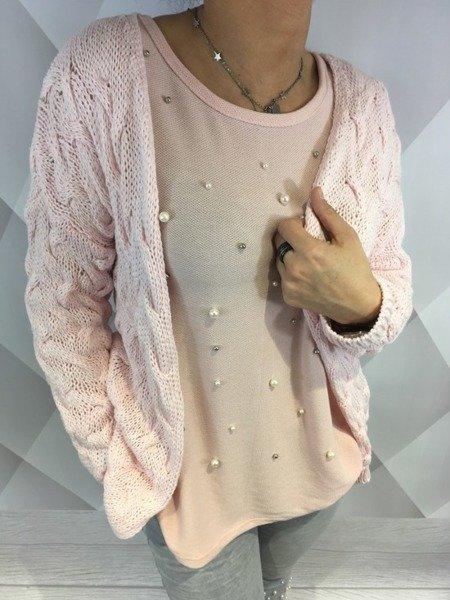 Sweter lużny warkocze róż