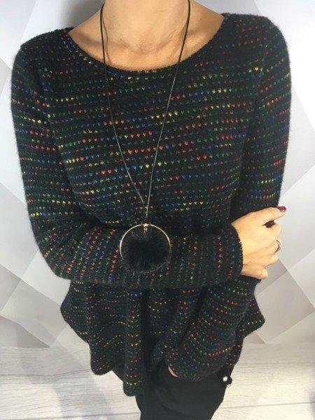 Sweter melanż czarny