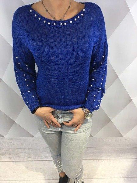 Sweter niebieski z perłami