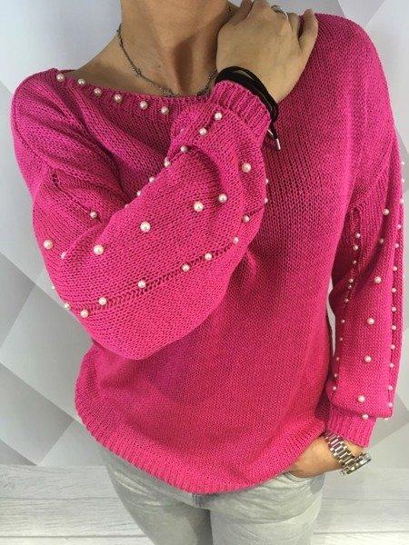 Sweter różowy z perłami