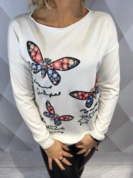 Sweter w motyle biały