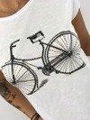 Bluzka biała z motywem roweru