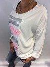 Bluzka pasy perły biała