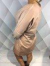 Sukienka różowa ze wstawkami moherowymi