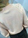 Sweter blady róż z perłami S/M